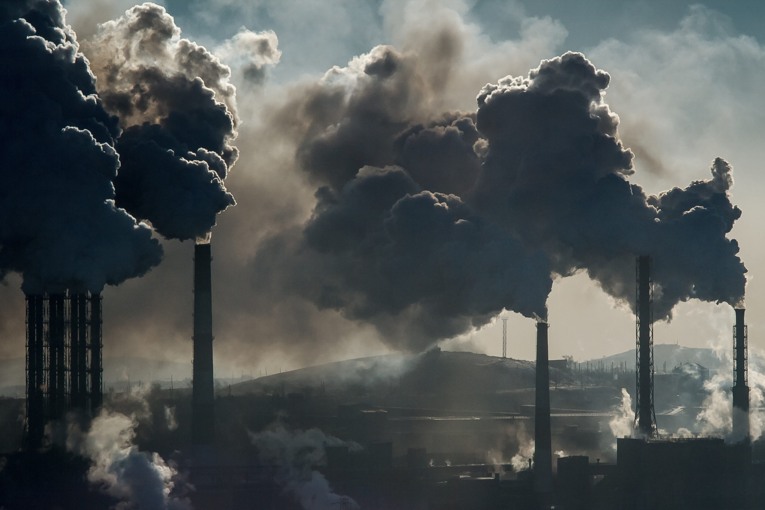 Smoke rising from a coal plant.