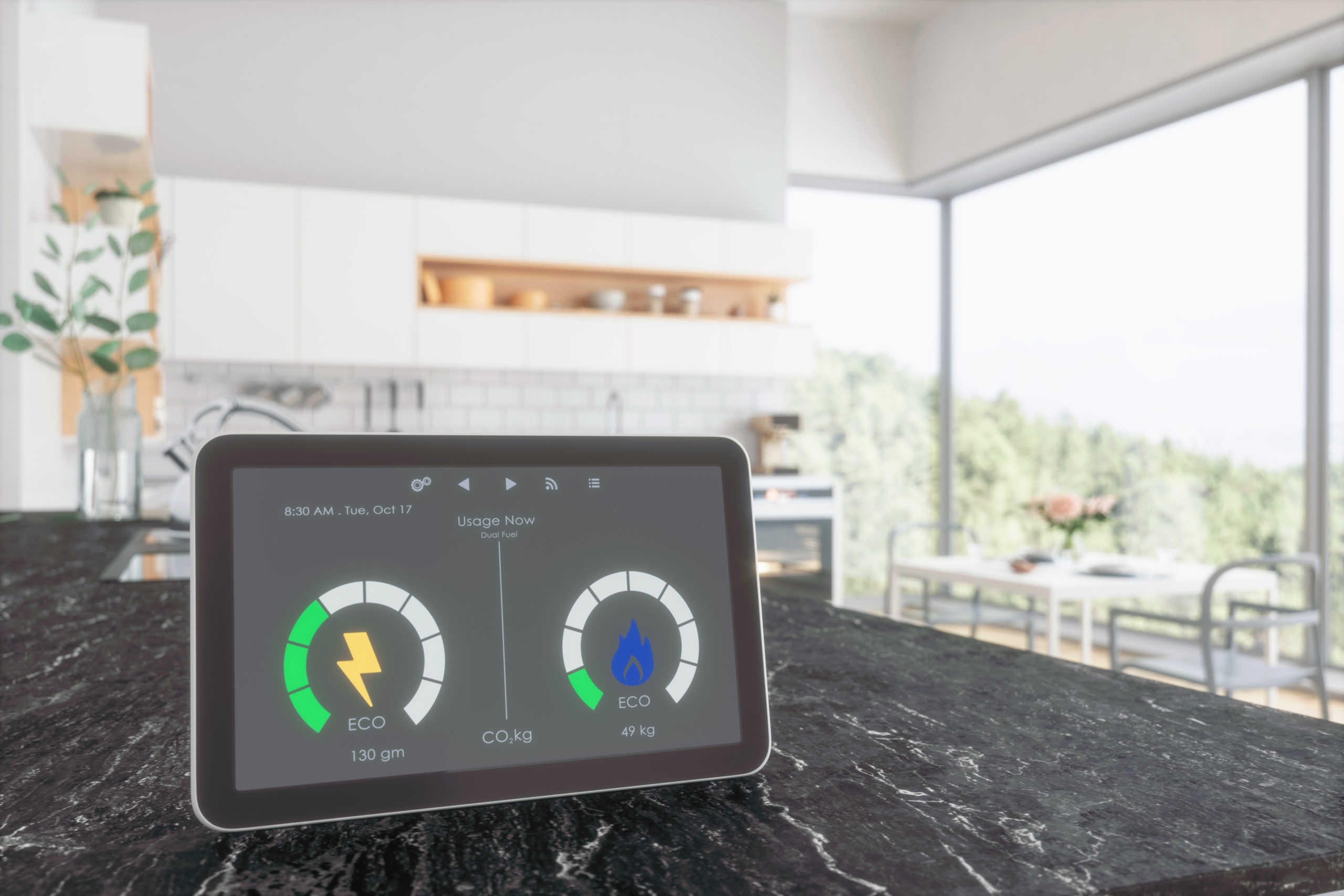 Home energy smart meter in a Kitchen.