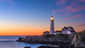 Sunrise at Cape Elizabeth, Maine, USA.