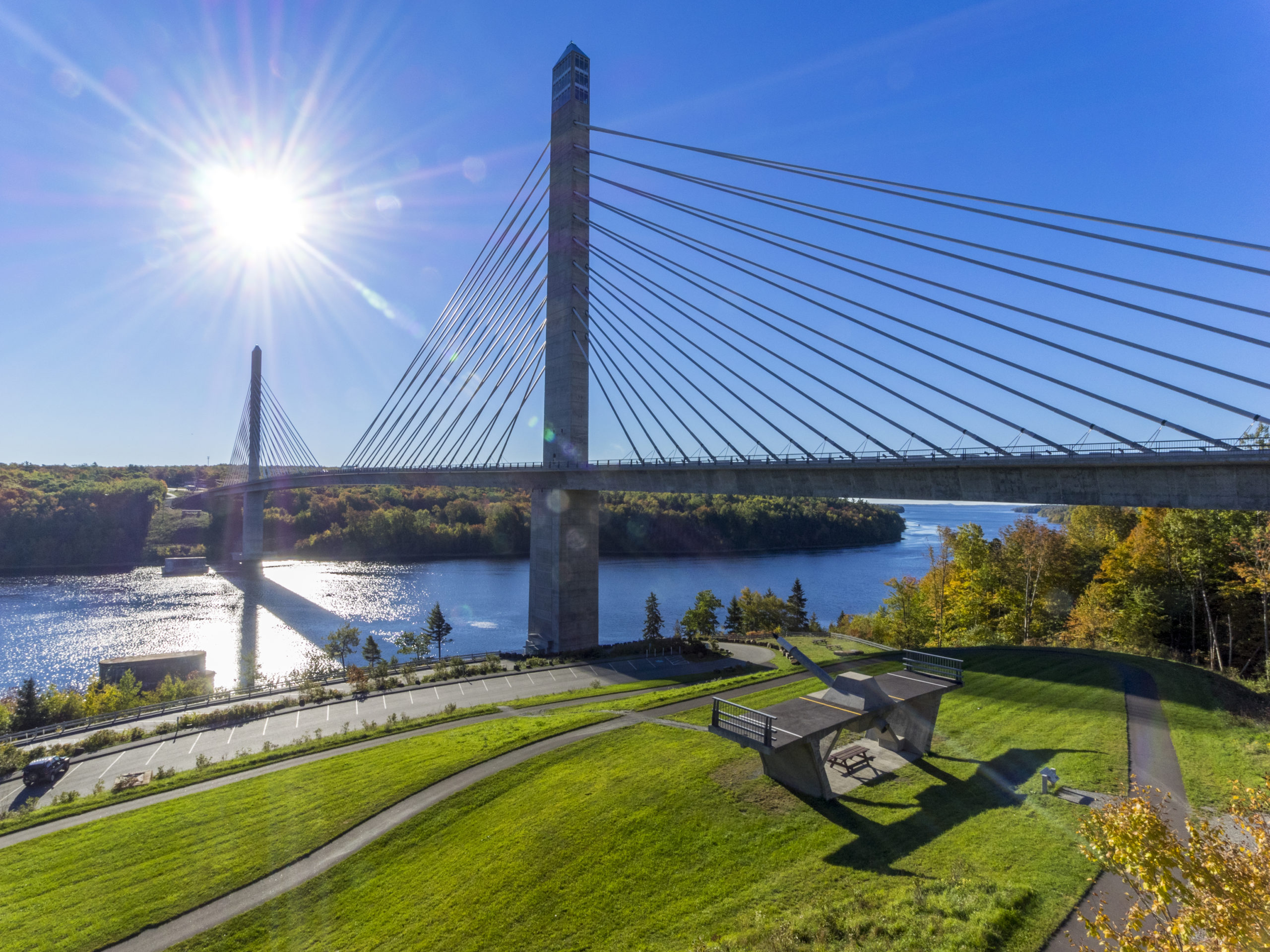 A view looking at Penobscot Narrows Bridge and Observatory in the State of Maine, USA.